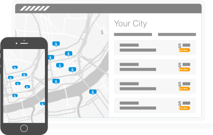illustration of find parking page on laptop and mobile